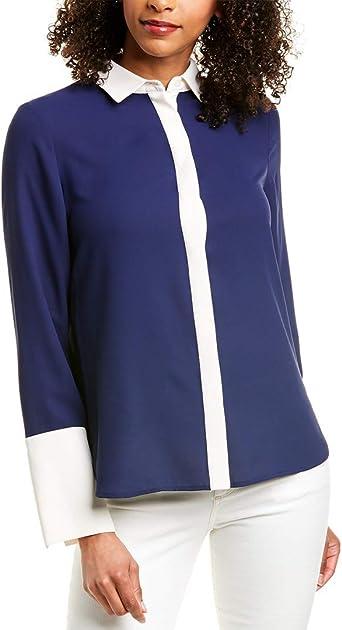 Anne Klein - Blusa Oxford con cuello para mujer - Azul - XX-Small: Amazon.es: Ropa y accesorios