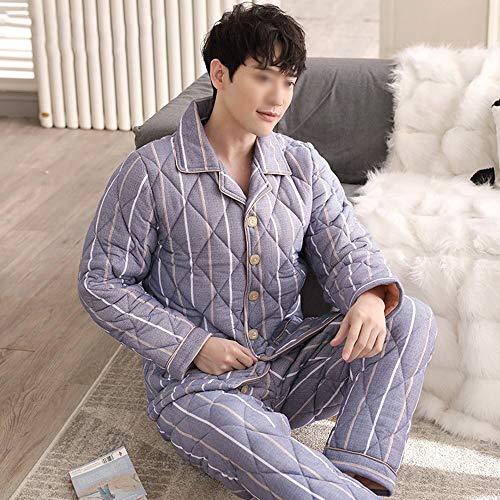 Invierno Piezas Espesar Tres Chándal Cálido Mantener Conveniente Tamaño Gwdj Amantes Color Hombre Larga Mujer De Pisos Pijamas Pijamas Manga Algodón Casual male Dos Traje L B PZA8cWAR6