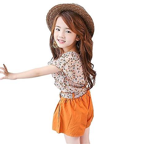 MV New Summer Girls Childrens Chiffon Ruffle Belt Shorts Suit Korean Version