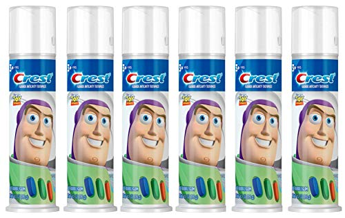 Kids Cavity Protection - Crest Kid's Cavity Protection Toothpaste Pump Featuring Disney Pixar's Toy Story, Blue Bubblegum, Ages 3+, 4.2 Ounce, Pack of 6