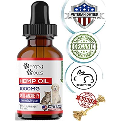 Cat Health Products HempyPaws Hemp Oil for Dogs & Cats – 1000mg – Anxiety & Pain Relief Pet Hemp Oil [tag]
