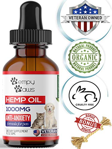 - HempyPaws Hemp Oil for Dogs & Cats - 1000mg - Anxiety & Pain Relief Pet Hemp Oil Made in USA - All Natural Hemp Extract Oil for Pets - Non-GMO, Organic,  Supports Joint Health - Chew Toy