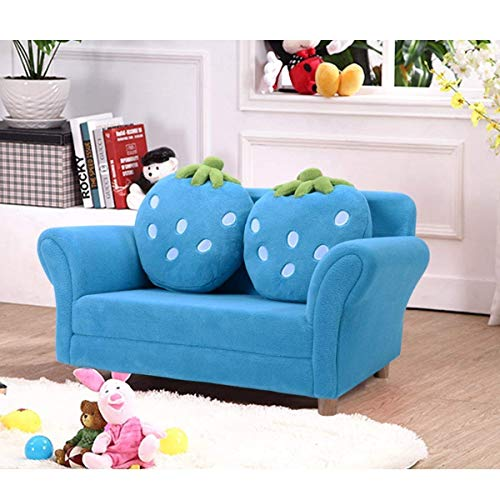 Costzon Children Sofa, Kids Couch Armrest Chair, Upholstered Living Room Furniture, Lounge Bed with Two Strawberry Pillows(Blue)