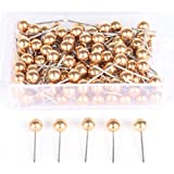 AnMiao Star 1/8 Inch Map Tacks, Push Pins, Plastic Round Head, Steel Point,100-Count,Gold Colors