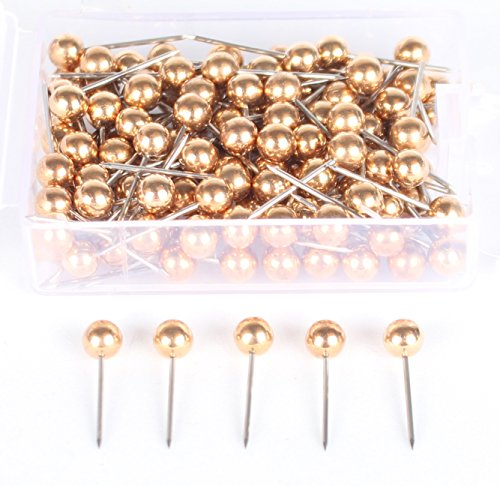 AnMiao Star 1/8 Inch Map Tacks, Push Pins, Plastic Round Head, Steel Point,100-Count,Gold Colors (Gold Fancy Star)