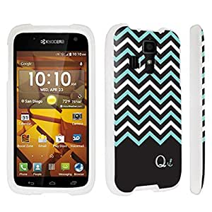 DuroCase ? Kyocera Hydro ICON C6730 Hard Case White - (Black Mint White Chevron Q)