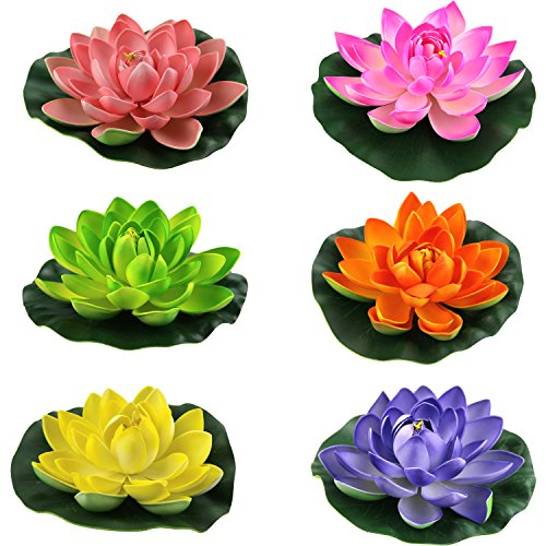 (Lightingsky Artificial Floating Foam Lotus Flower Pond Decor Water Lily (6 Colors-2, Meduim-18cm))