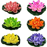 Lightingsky Artificial Floating Foam Lotus Flower Pond Decor Water Lily (6 Colours-2, Small-10cm)