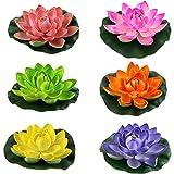 Lightingsky Artificial Floating Foam Lotus Flower Pond Decor Water Lily (6 Colours-2, Medium-18cm)