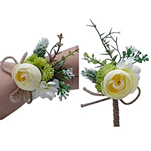 Florashop Peony Bud Wrist Corsage & boutonniere Wedding Bridal Bridesmaid Wrist Corsage Wristband and Men's Groom Bridegroom Boutonniere for Wedding Prom Party Homecoming 97