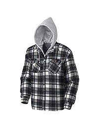Pioneer V3080396-L Polar Fleece Work Shirt - Quilted Hooded, Blue-Grey Plaid, L