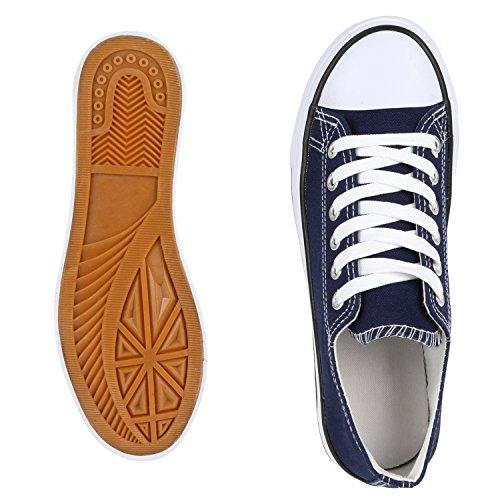 napoli-fashion Unisex Sneaker Low Damen Herren Turnschuhe Übergrößen Basic Freizeitschuhe Stoffschuhe Metallic Glitzer Schuhe Blumen VanHill Marineblau Bianco