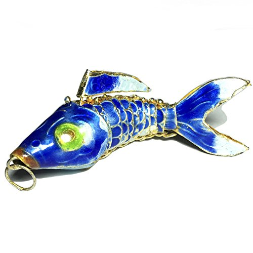 [ABCgems] Antique Cloisonne Articulated Fish (Moves Like a Fish) 75mm Blue Loose Bead