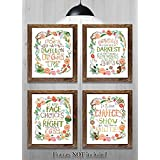"""Gifts for Harry Potter fans! - Set of 4-8""""x10"""" Prints - Harry Potter Quotes and Sayings (HP Wreath)"""
