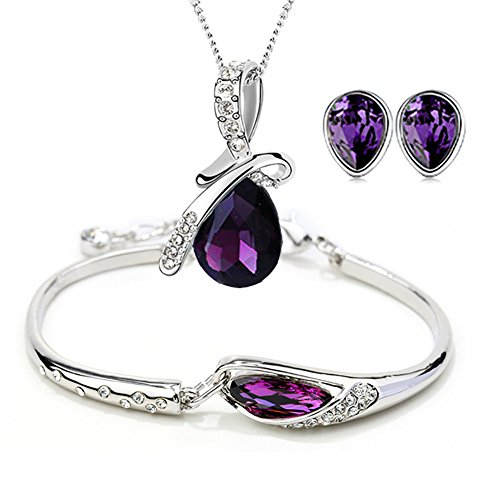 ISAACSONG.DESIGN Silver Tone Healing Crystal Rhinestone Drop Pendant Necklace, Bracelet, Earring Set for Women (3 Stone Purple Pendant)