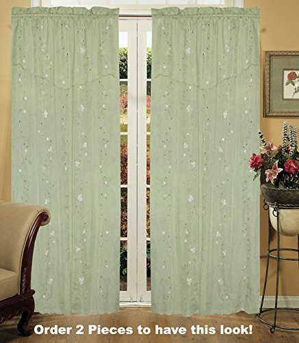 Daisy Embroidered Floral Window Curtain Panel 50×84″ in 6 Colors – Gold, Ivory, Lavender, Mint Green, Pink, Taupe One Piece (Mint Green)