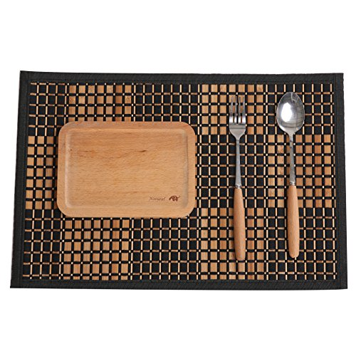 Marscool Placemat for Kitchen Table,Bamboo Placemat Stain-Resistant,Heat-Resistant Placemats Set of 4,Natural Bamboo Material,Table Mats and Dine Mats for Dining Table,Four Model Choices(Black Square)