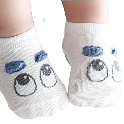 - Jshuang Children's Socks Animal Party Boat Socks Spring Summer Baby Baby Slip Socks Blue Eyes, White 0-2T Newborn Cotton Boys Girls Cute Cartoon Toddler Anti-Slip Socks (White, M)