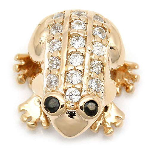 Sexy Sparkles 1 Pc Charm Bead Frog Copper Rose Gold Micro Pave Clear with Cubic Jewelry Making Supply Pendant Bracelet DIY Crafting by Easy to be ()