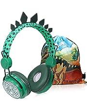 Kinderkoptelefoon, Dinosaurus Draadloze Hoofdtelefoon voor kinderen, Bluetooth Kinderhoofdtelefoon Over-ear met microfoon voor jongens, met dinosauruszak voor school en reizen