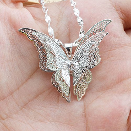 CS-DB Silver Plated Butterfly Pendant+Chain Women Lady Girl Sterling by CS-DB Gold