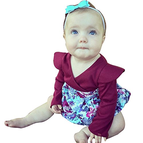 Birdfly Baby Girls Floral Romper Long Sleeves Surplice Bodysuit Newborn Infant One-piece Cute Fun Playsuits Outfits (6M, Plum)