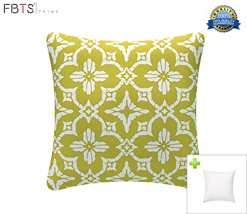 Indoor/Outdoor Throw Pillow with Insert 18x18 Inches Decorative Square (Yellow & Green, Kaleido) Cushion Covers Pillow Sham for Couch Bed Sofa Patio Furniture by FBTS Prime - Ensemble Garden Accent