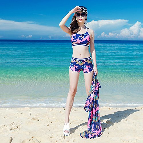 Dark bleu M HAIYOUVK Couple maillot de bain maillot de bain Bikini Three-Piece petit Chest Steel Plate Gather Split Female maillot de bain Male plage Pants