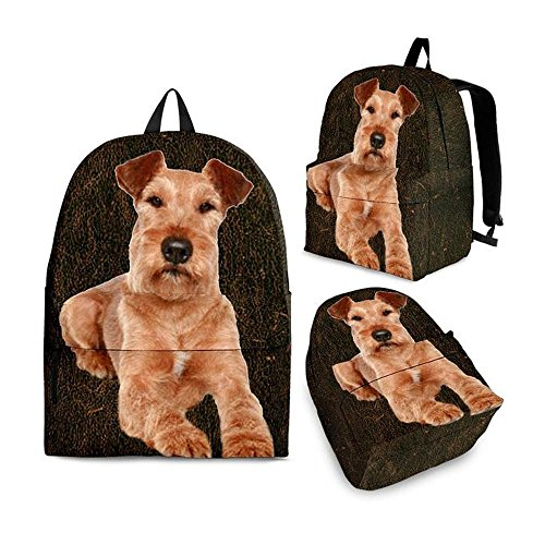 Cute Irish Terrier Print Backpack Set For Kids and Girls (Adult (Ages 13+), Dark Brown)