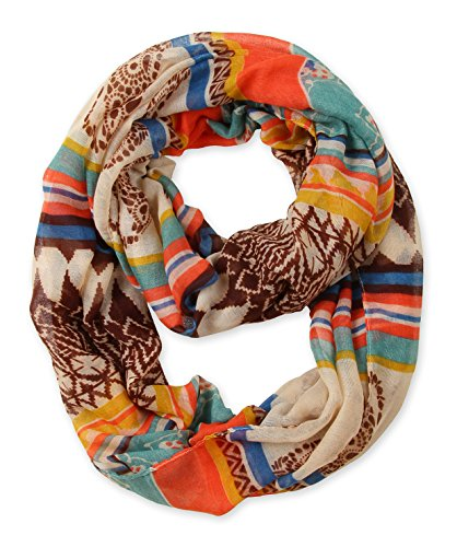 International Orange and Antique White Paisley Women's Infinity Scarf Loop - International Shipping Shop