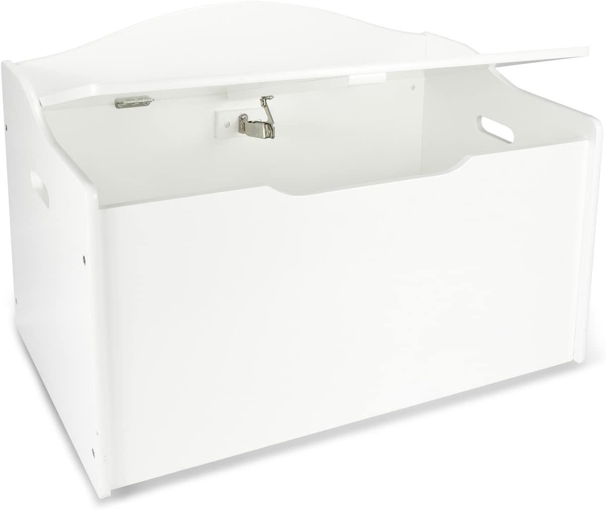 Leomark Caja de Madera XL Banco Blanco con Almacenamiento para Juguetes, Accesorios Baúl de Juguetes, Color Blanco, Dim: 68 x 42 x 46 (alto) cm