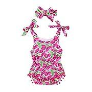 Toraway 2PCS Set Infant Kids Baby Girls Sleeveless Feather Romper Jumpsuit+Headband Outfits Set (0-6 Month, Hot Pink)