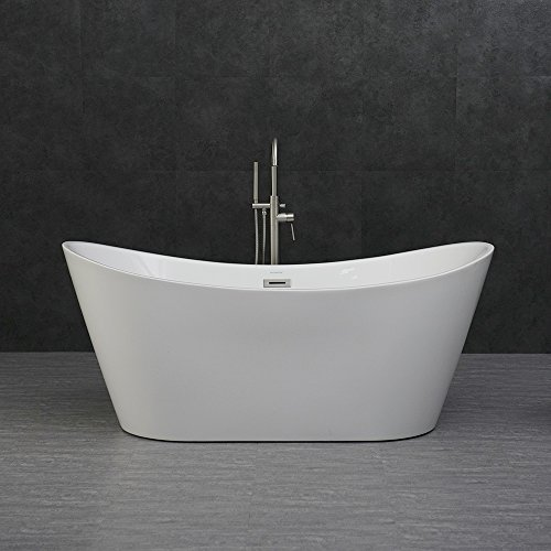 WOODBRIDGE B-0010/BTA1515 Modern Bathroom Glossy Acrylic Free Standing Bathtub, 67