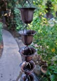 BRONZE IRON FLOWER CUP RAIN CHAIN WITH INSTALLATION KIT (12 Feet)