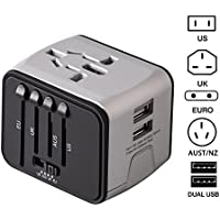 Universal Travel Adapter with 2.4A Dual USB Ports