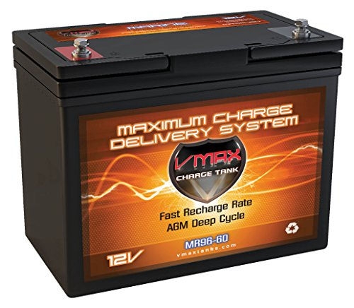 VMAX MR96-60 12 Volt 60AH Marine AGM Deep Cycle High Performance Battery for Minn Kota Endura C2 30 Freshwater Transom Mounted 30LB Thrust Trolling Motor