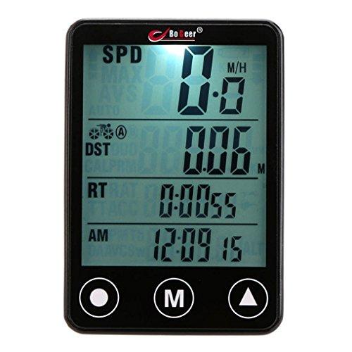 Wireless and Waterproof Bicycle Speedometer Black - 7