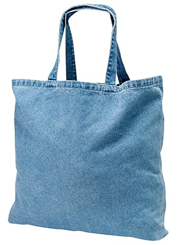 Washed Denim Heavy Canvas Twill Book Tote Bags for Daily Use (1, DENIM)