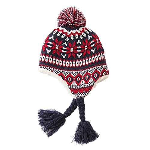 home-prefer-baby-girls-boys-thick-knit-earflap-hat-sherpa-lined-peruvian-beanie-hat-red-christmas-ha