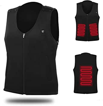 Temcon Electric Heated Vest Carbon Fiber Heating Coil, 5 Seconds Heat Up, 1 Size for Men and Women Black
