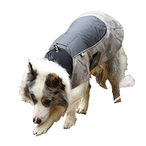 MY PET Clothes for Small Medium Dogs Large Breed Pitbull Waterproof And Warm Coat Jacket Outdoor Safety Raincoats with Reflective Article Plaid Winter Autumn Velcro Soft Khaki XL