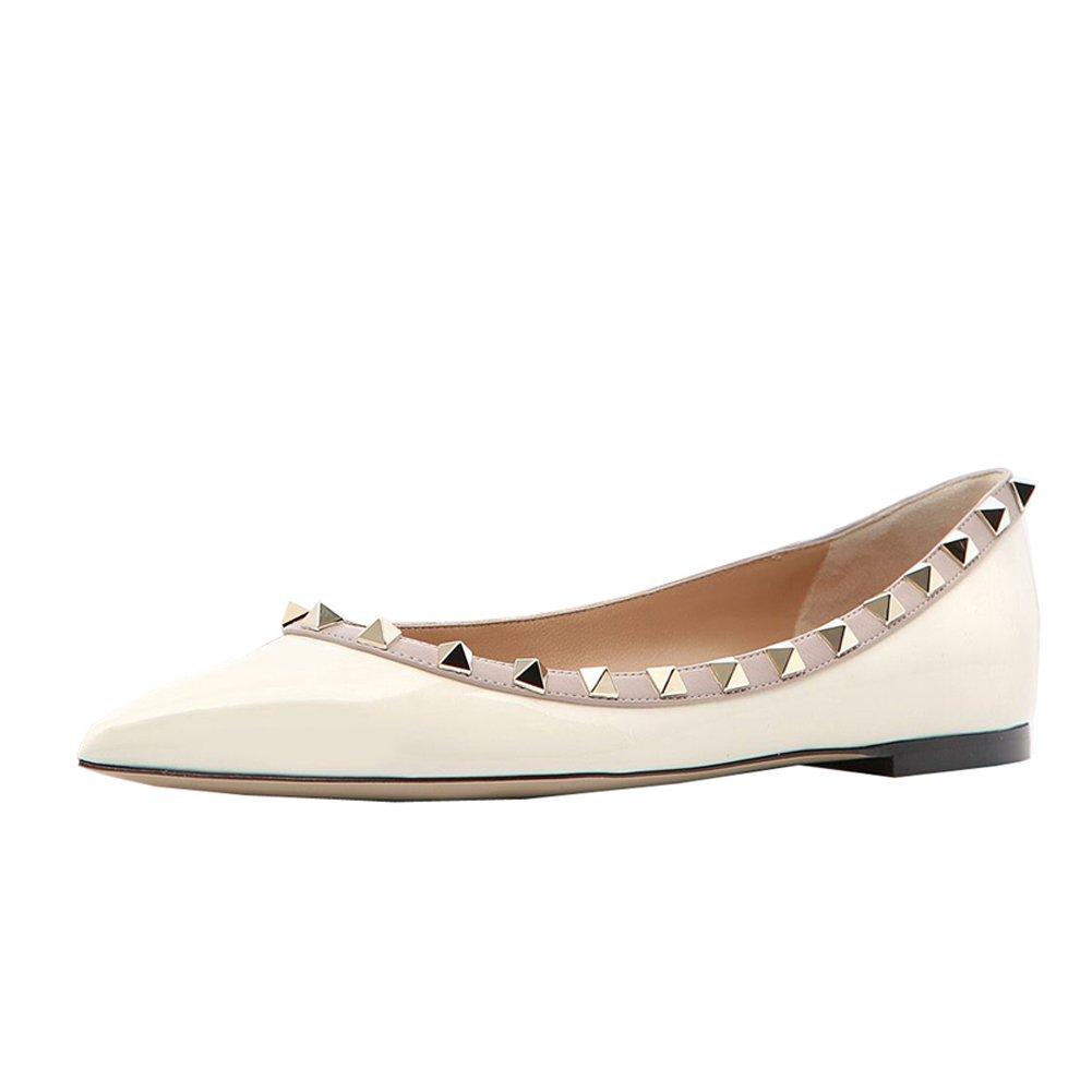 Lutalica Frauen Stilvolle Nieten Tägliche Lässig Spitze Ballerinas Flache Flache Ballerinas Schuhe Weiß Patent dd1b26