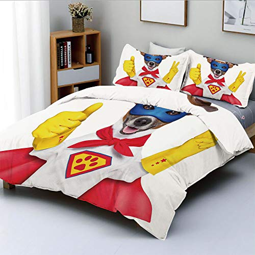 Duplex Print Duvet Cover Set Twin Size,Super Puppy Hero Dog in Cape and Mask Costume Humor Funny Cute Picture DecorativeDecorative 3 Piece Bedding Set with 2 Pillow Sham,Red Yellow Royal Blue,Best Gif -
