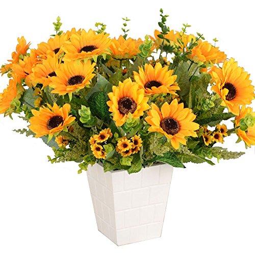 Get Well Sunflower Bouquet - 2 Bunches Artificial Sunflower Bouquet Real Touch ,Dried Flowers For Kitchen Decor.