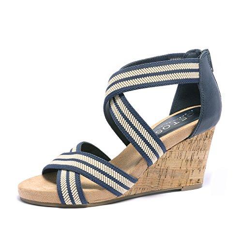 TOETOS Women's Solsoft_15 Pewter Low Platform Wedges Back Zipper Sandals Size 10 B(M) US