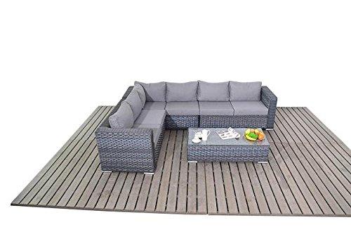 Moderne Groß Grau Rattan Ecksofa 3 Modular 2 Sitzer Sofas Mit Einer