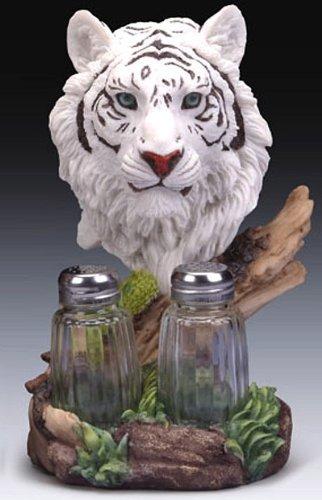 Salt And Pepper Shaker Set : Rare White Bengal Tiger Head Heavy Resin   8 1