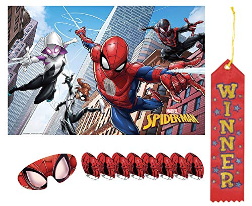 Spiderman Pin The Tail on The Donkey Style Party Game with Blindfold & Stickers! Plus 1st Winner Ribbon!]()