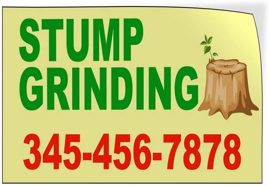 Custom Door Decals Vinyl Stickers Multiple Sizes Stump Grinding Phone Number Tree Stump Business Stump Grinding Outdoor Luggage /& Bumper Stickers for Cars Yellow 60X40Inches Set of 2