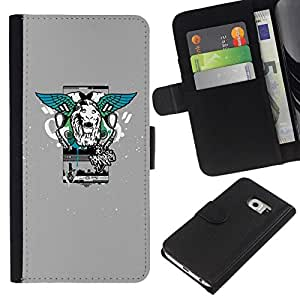 All Phone Most Case / Oferta Especial Cáscara Funda de cuero Monedero Cubierta de proteccion Caso / Wallet Case for Samsung Galaxy S6 EDGE // Lion Wings Street Style